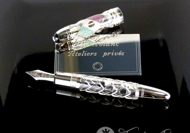 MONTBLANC MEXICO FLAG ATELIERS PRIVE/ DIAMONDS< RUBIES, EMERALDS FOUNTAIN PEN/ 15 OF 15