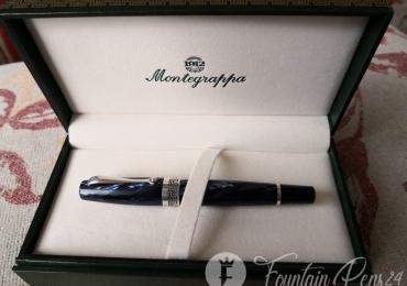 MONTEGRAPPA MIYA Argento Fountain Pen 925 Silver Sterlin Midnight blue celluloid