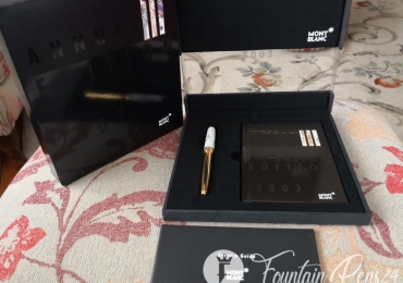 "MONTBLANC ANNUAL EDITION I/ 2003 ""LEDA AND SWAN"" FOUNTAIN PEN Estilográfica WITH MEISSEN PORCELAIN CAP. NEW"