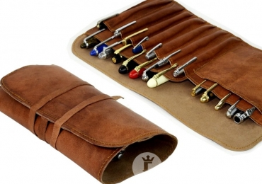 Genuine leather pen rollup bag – for 12 jumbo pens or a mix of pens