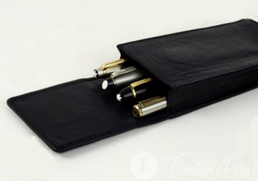 Pen pouch genuine leather – for 4 jumbo pens with separate pockets