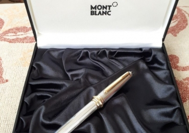 MONTBLANC Solitaire 144 Sterling Silver 925 Pinstripe Fountain Pen 750 18k Gold