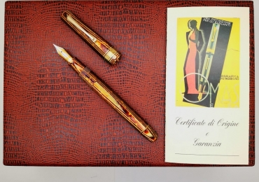 Omas Brown Arco Celluloid Paragon Fountain Pen Original from 1991 mint with box